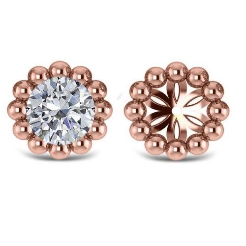 Beaded Round Earring Jackets Plain Metal 14k Rose Gold