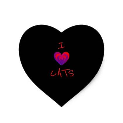I heart cats black with red and purple heart sticker