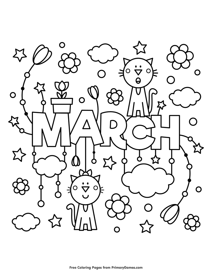 March Coloring Page • FREE Printable eBook Spring