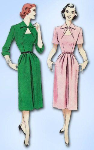 f573bc03349 1950s Keyhole Dress Pattern Vintage 1951 Butterick Sewing Pattern Sz 32 B