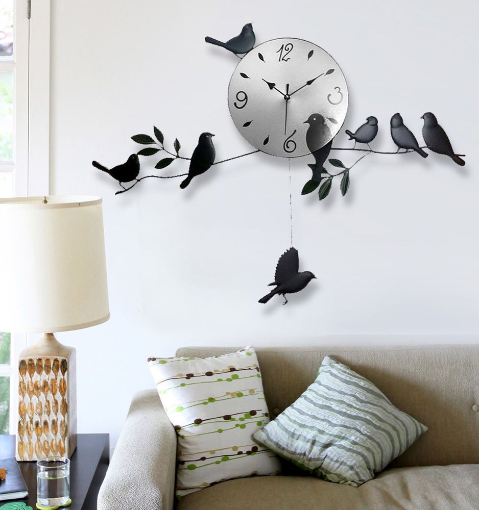 Wall clock birds designer decal mural art living room home office black birds latest wall clock mural art designer mordern family living room amipublicfo Choice Image