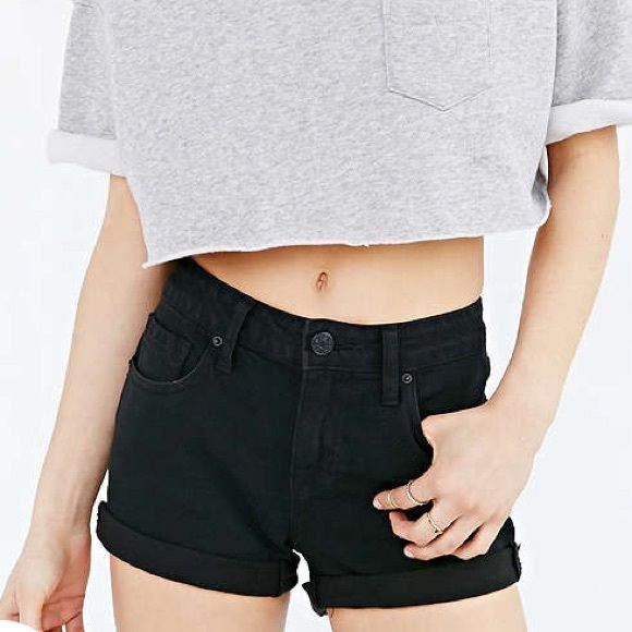 BDG Shortie Short Urban Outfitters black denim shorts. Never worn (didn't fit me). Urban Outfitters Shorts Jean Shorts