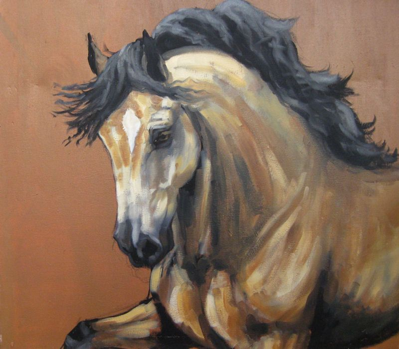 Horse art equine movement energy print 'Magnificence' from an original oils on…