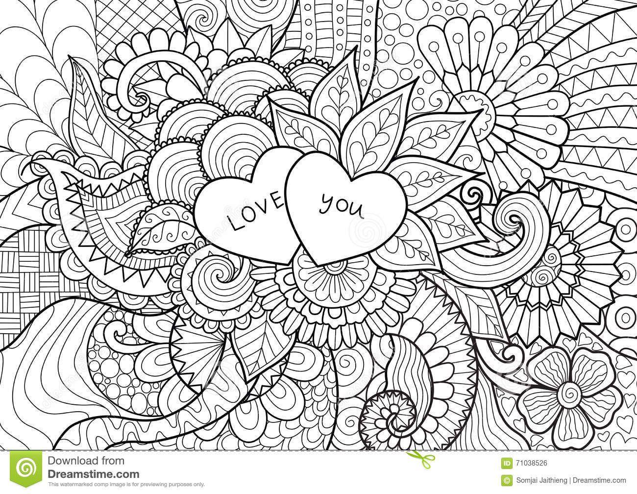 Dibujos De Corazones Coloridos: Dos Corazones Que Ponen En Las Flores Para El Libro De