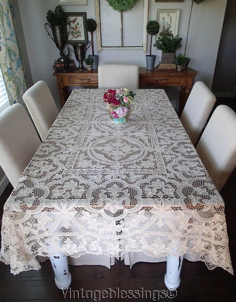 ANTIQUE Belgium ZELE Needle Lace Tablecloth U0026 12 Napkins (ng)