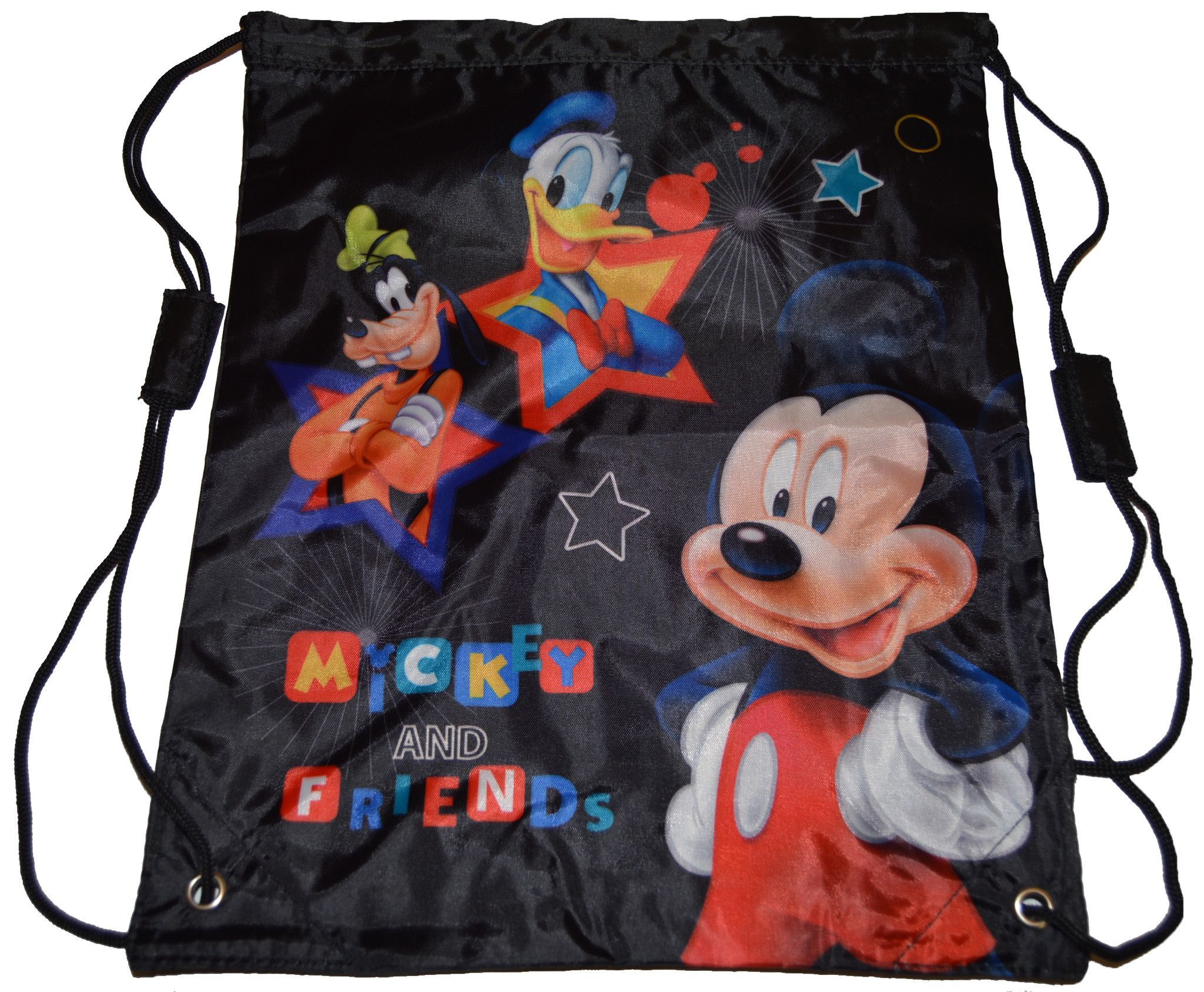 6cc64321771 Official Disney Stars Mickey Mouse and Friends Draw String Backpack Bag  Black