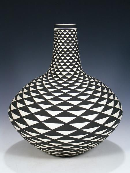 Black and White Acoma Pueblo Hand Coiled Pottery