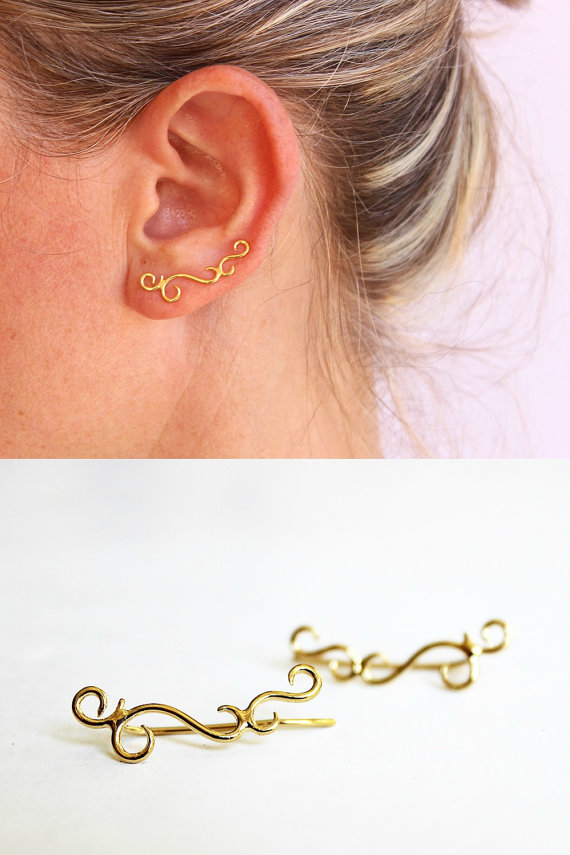 Gold ear crawler, ear climber, ear cuff, swirl earrings ...