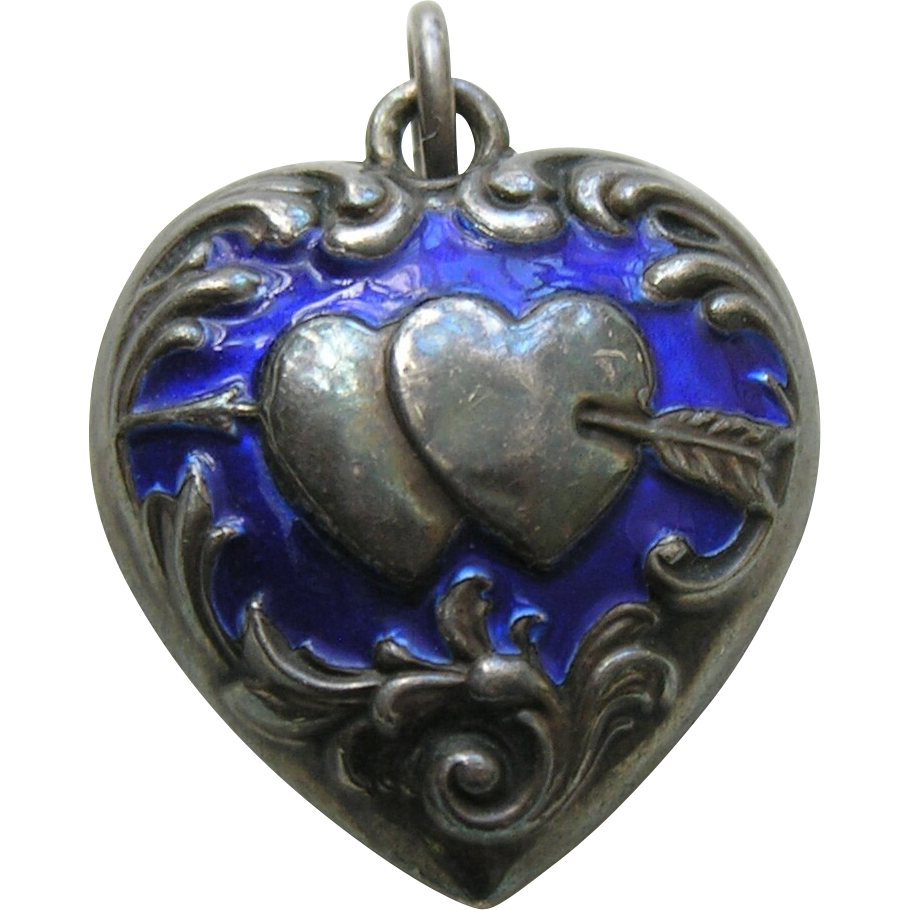 Antique Enameled Double Heart Arrow Puffy Large Double Sided Sterling Heart Puffy Heart Charms Heart Jewelry Heart With Arrow