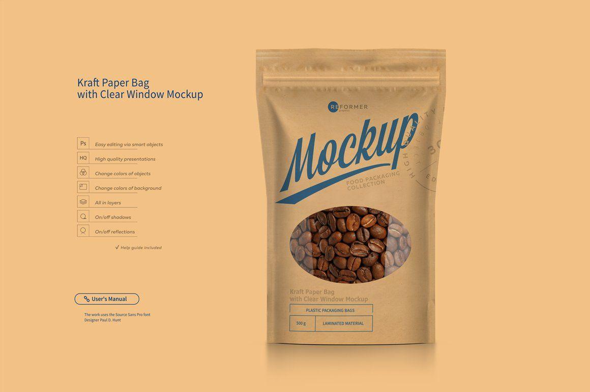 Download Kraft Paper Bag With Window Mock Up Paper Bag Brochure Design Template Stand Up