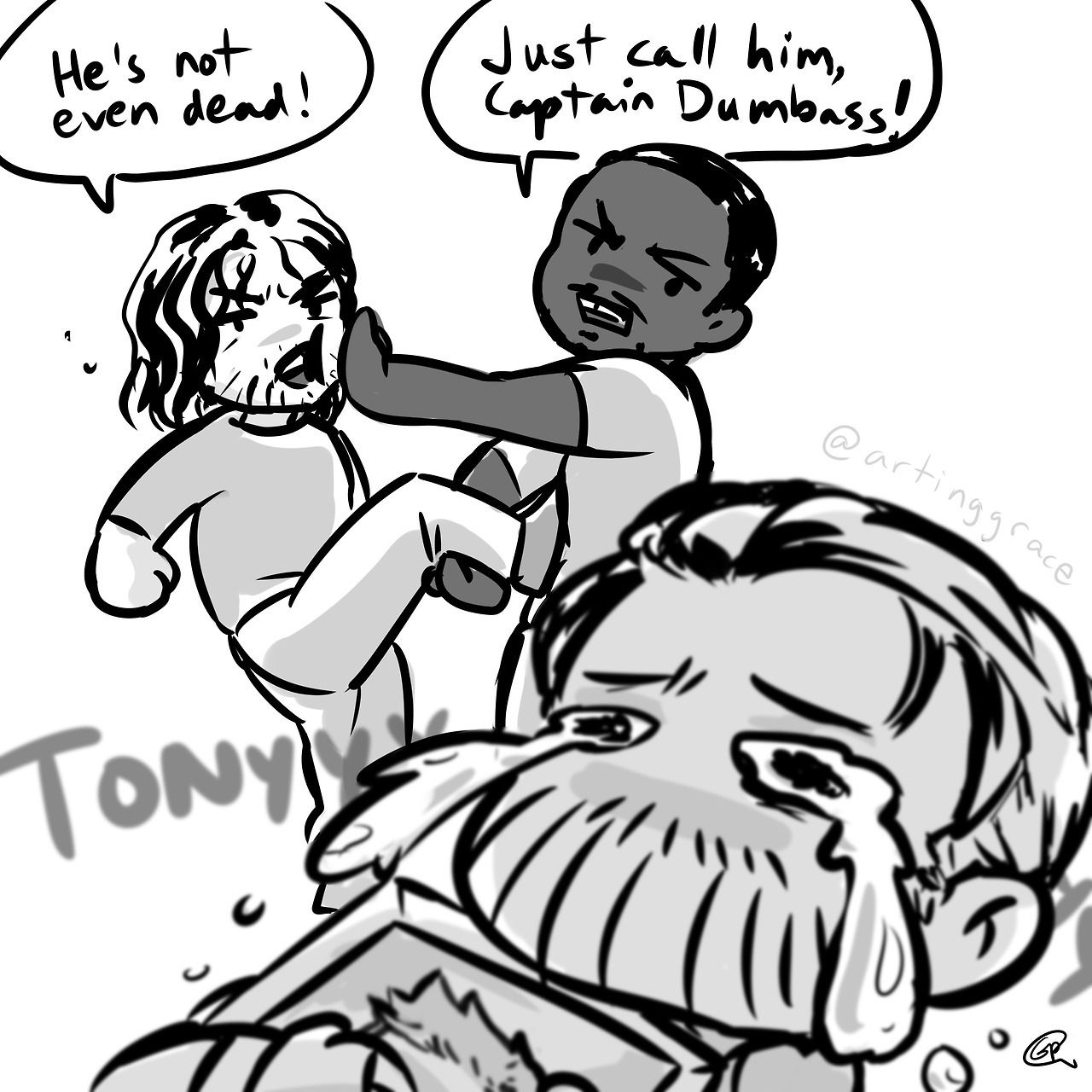 """artinggrace: """" chris evans confirmed that the infinity war beard+long hair is because steve's having a hard time missing tony so… sad pup steve and sambucky stopping their sambuckying to yell at..."""