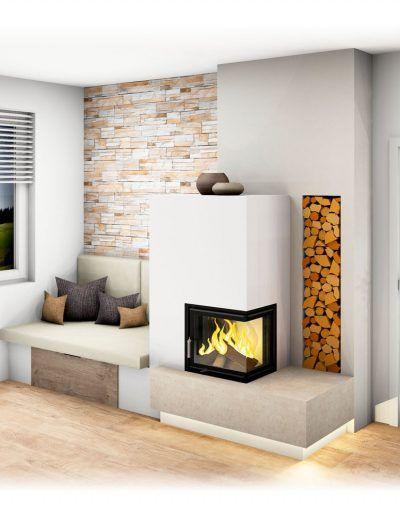 Kachelofen | Kachelofen modern, Eckfenster, Ofen wohnzimmer