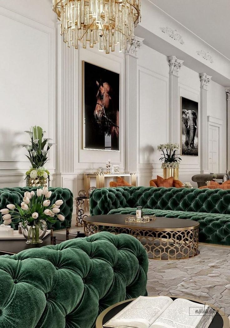 Beautiful green modern style living room decor with green velvet tufted sofa lux…