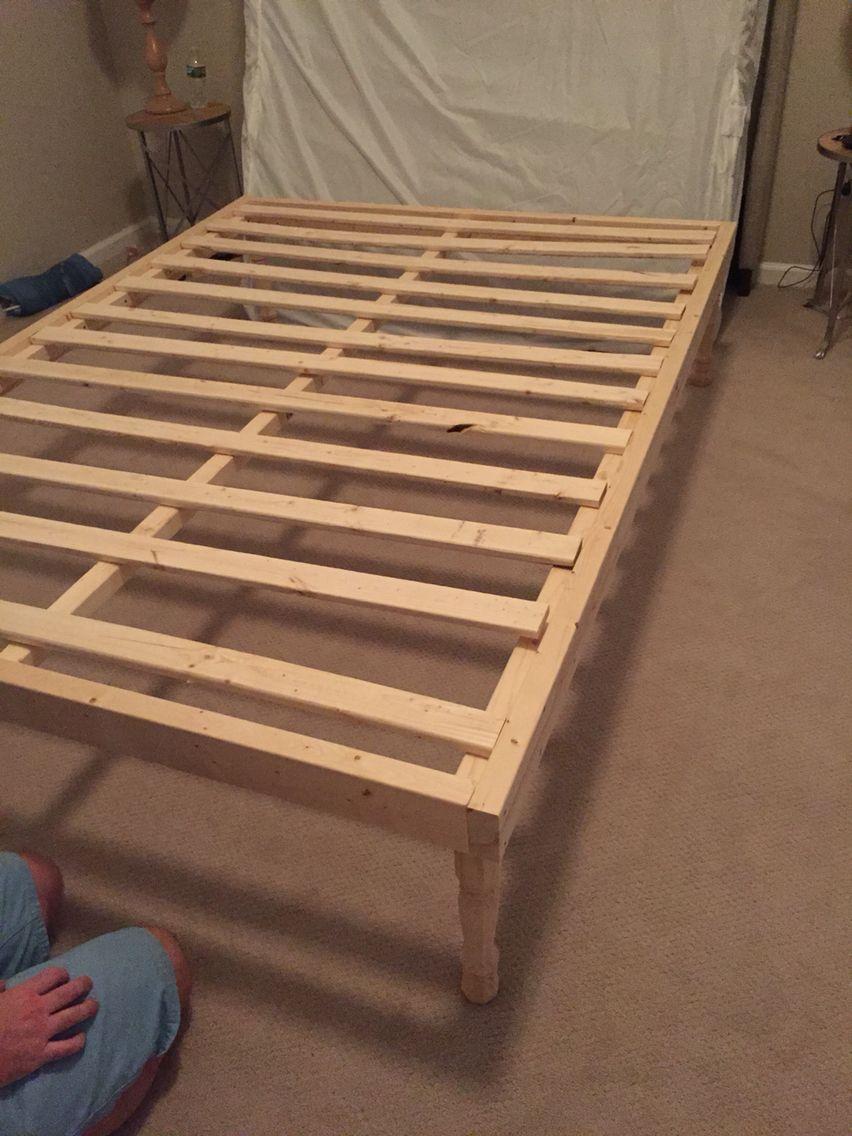 Diy Queen Bed Frame 80x60 Queen Mattress 2 Sides 80 2x4 2 Top