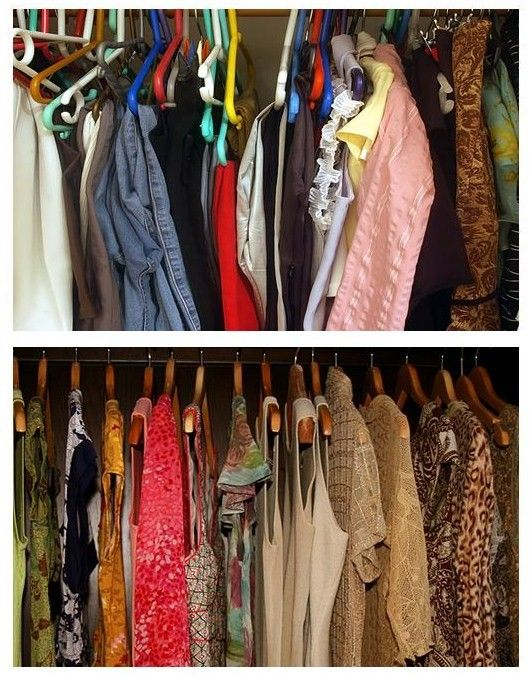 Before And After Closet With Uniform Wooden Hangers From