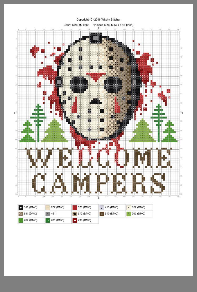 Photo of Jason Voorhees cross stitch pattern.
