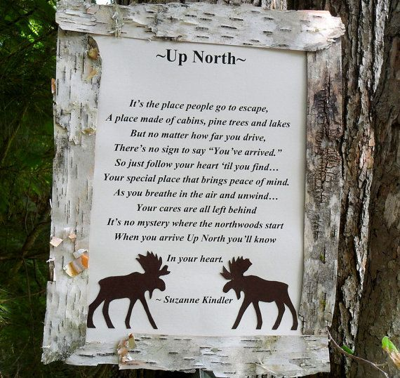 Up North Poem Plaque With Moose Decoration For House Decor
