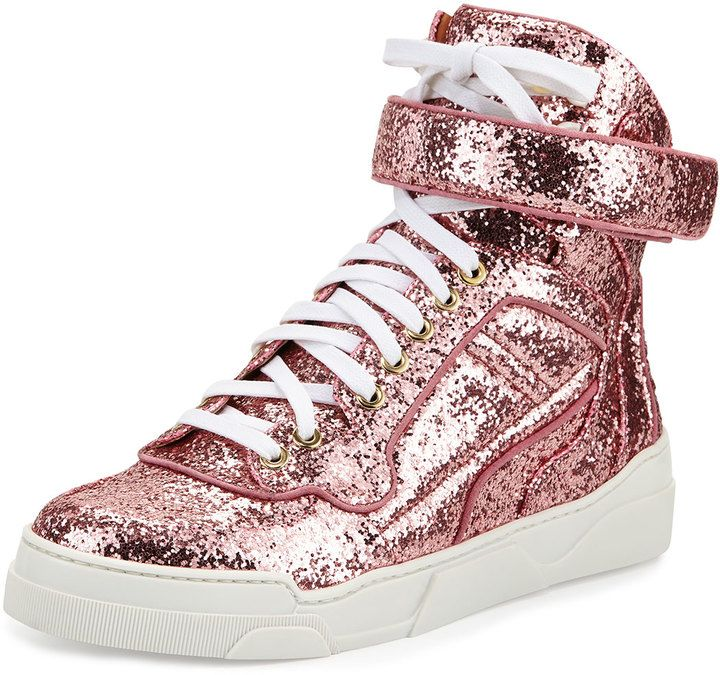 Givenchy Glitter High-Top Sneaker, Pink