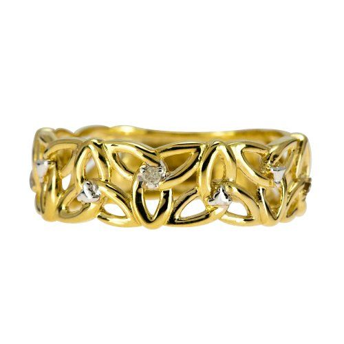 Kareco 9ct Yellow Gold Ladies 5 Point Diamond Set Linked Celtic Trinity Knot Ring fJz7I7M8