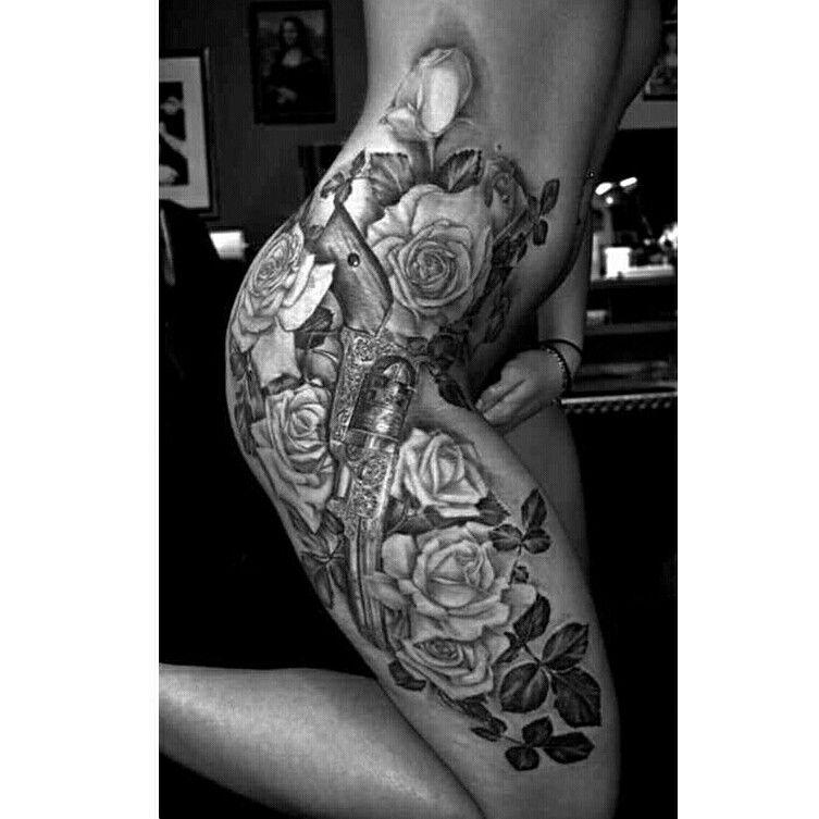 Guns And Roses Hip Tattoo Designs Hip Tattoos Women Hip