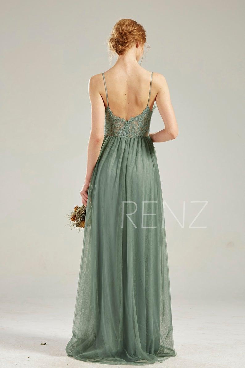 Boho Wedding Dress Green Bohemian Bridesmaid Dress Lace ...