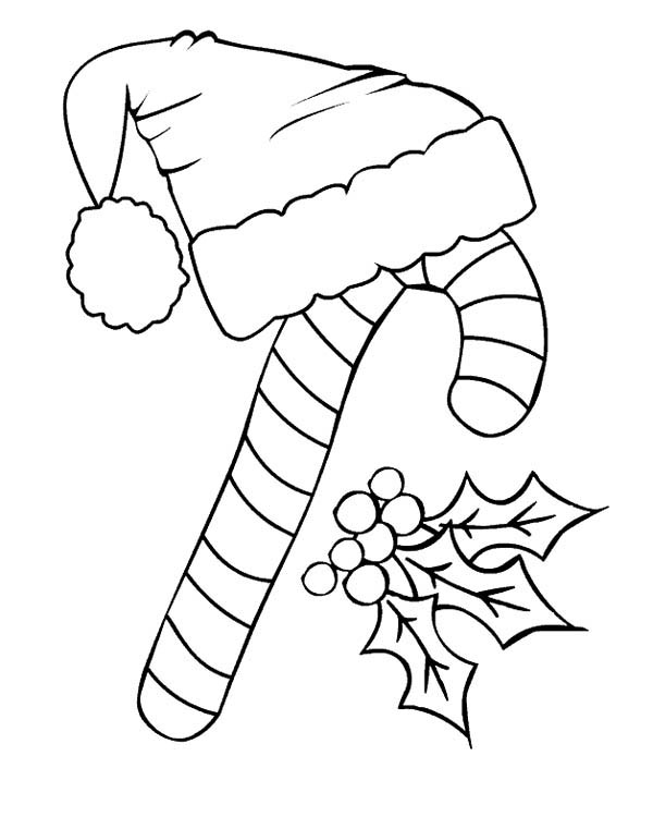 Candy Cane And Santa Claus Hat Coloring Page Download Print Online Coloring Pages Fo Kids Christmas Coloring Pages Coloring Pages Christmas Coloring Sheets