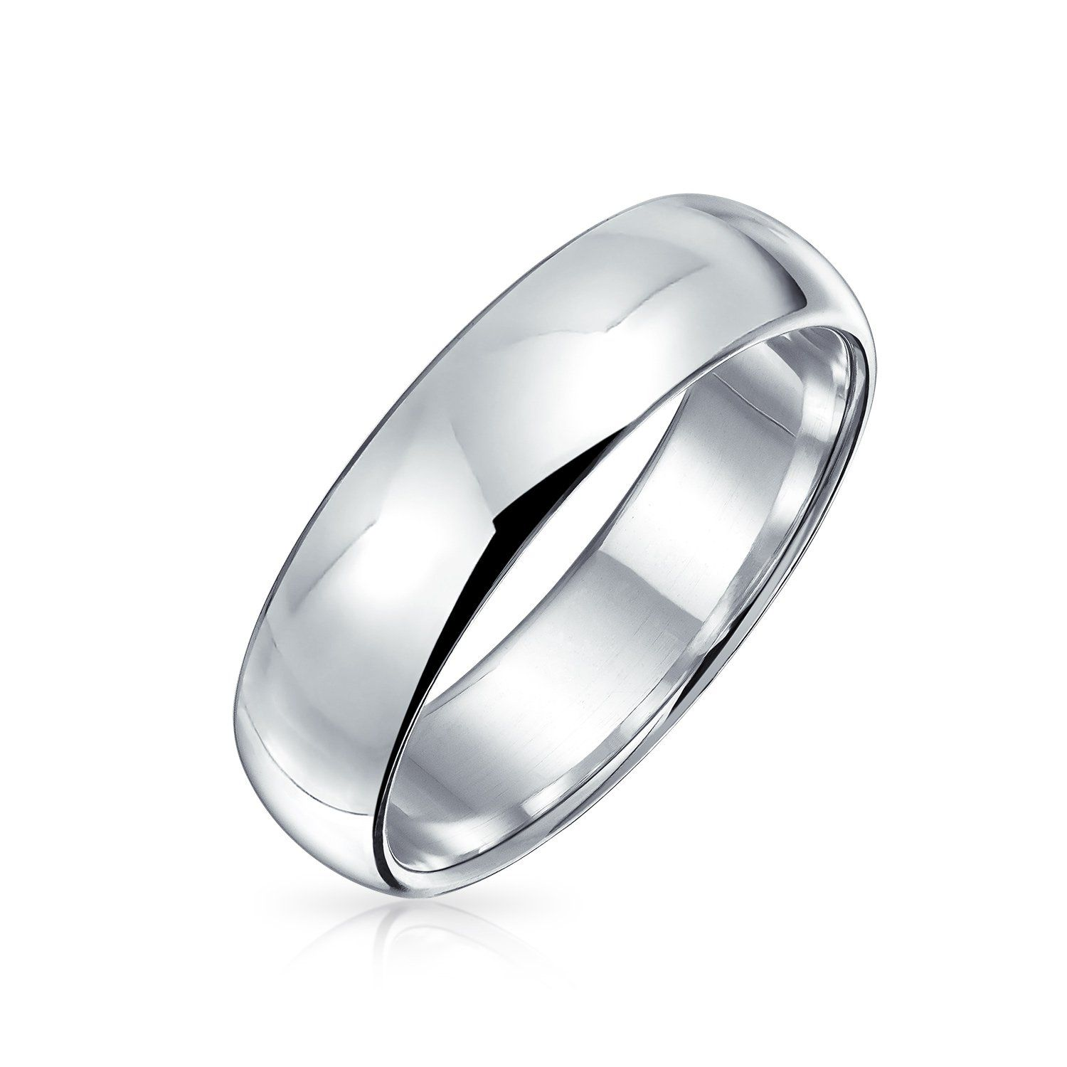 Plain Simple 925 Sterling Silver Dome Couples Wedding Band Ring