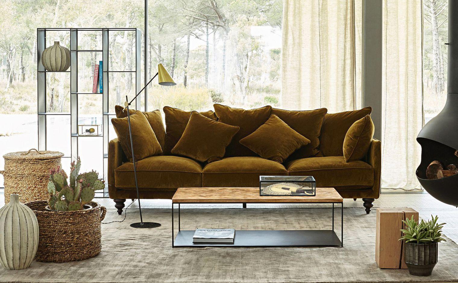 Resultat De Recherche D Images Pour Salon Scandinave Et Industriel Mur Kaki Canape Velours Sofa En Velours Deco Maison