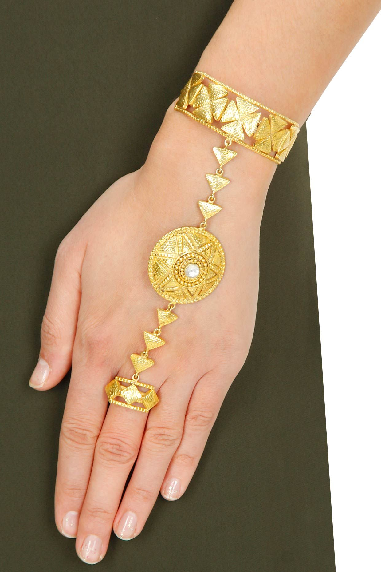 Gold plated textured motifs hand harness available only at Pernias