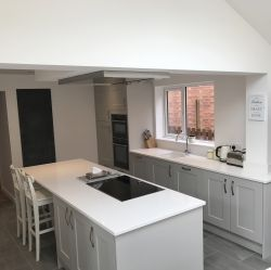 Smooth Matt Painted Soft Grey Kitchen With Bright White Quartz - Soft grey kitchen