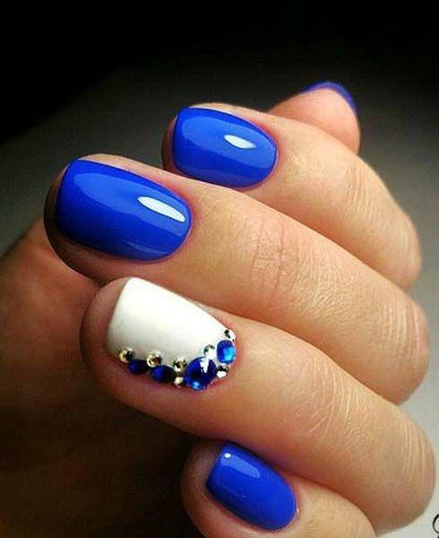Combinacion De Dos Colores Azul Y Blanco Unas Pa Mi