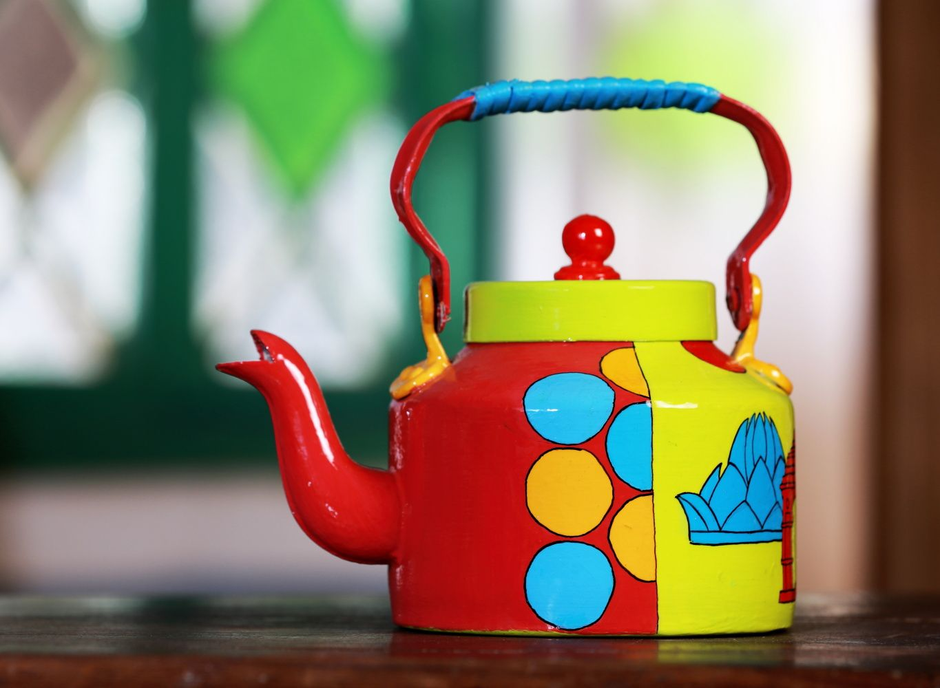 This Is An Aluminium Masala Tea Kettle Crafted With Beautiful Design And Layered With Abrasion Resistant Protectiv Hand Painted Wine Bottle Decor Mugs And Jugs