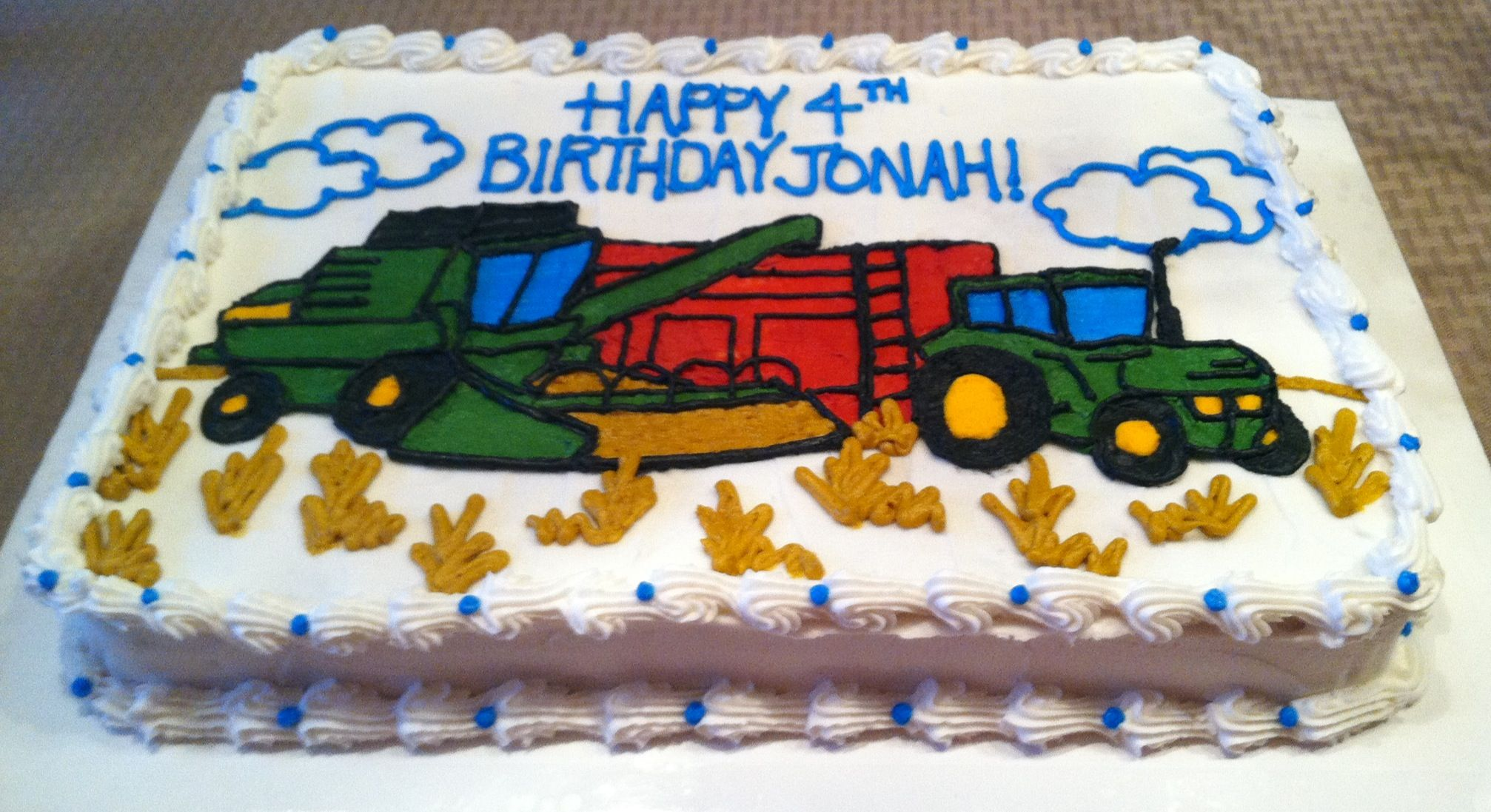 Tractor And Combine Sheet Cake - Confetti With Vanilla Buttercream Frosting