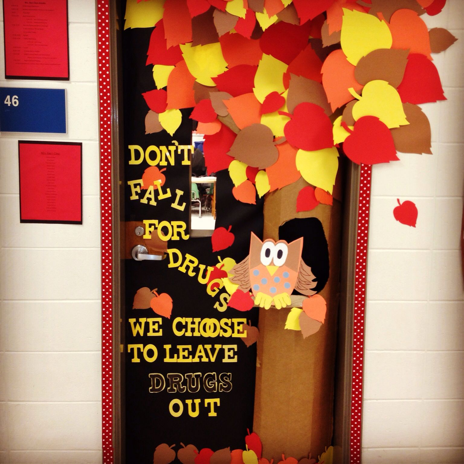 fall door decoration red ribbon week dont fall for drugs we - Fall Door Decorations