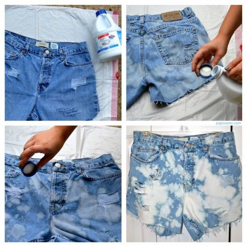 Diy Bleached Jean Shorts A Part Of Me Is Embarrassed That I M Pinning This Because It S Still Weird To Me That This Is Ba Diy Jean Shorts Denim Diy Jeans