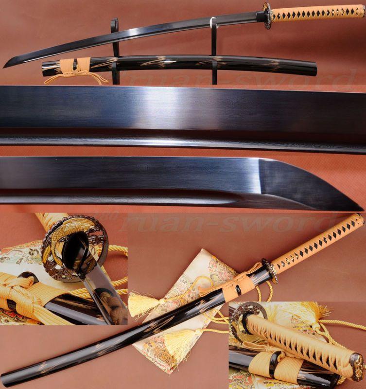 Black Folded Steel Full Tang Blade Handmade Japanese