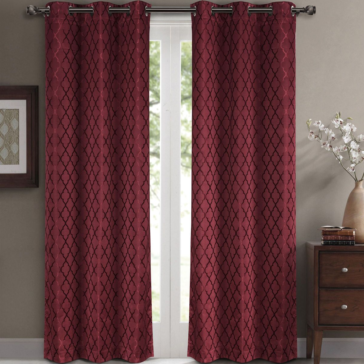 Home gt curtains collection gt modern curtains gt elegant pink un - Pair Of Two Top Grommet Blackout Jacquard Curtain Panels Triple Pass Foam Back Layer Elegant And Contemporary Willow Blackout Panels Charcoal