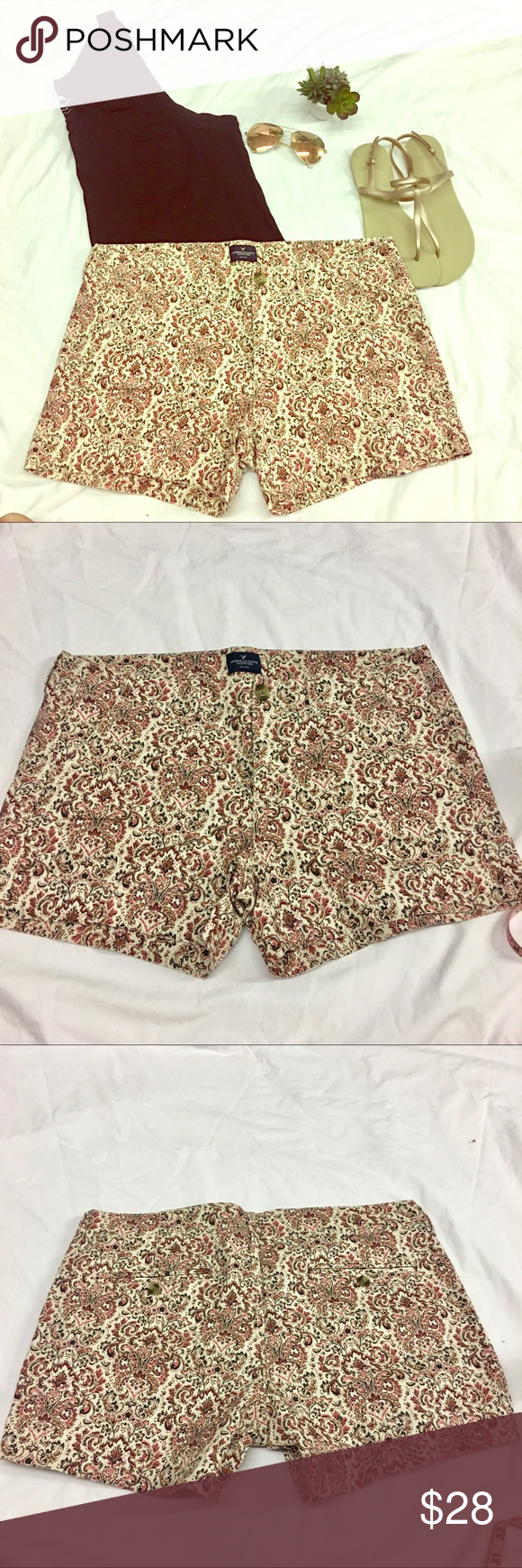 Paisley Shortie NWOT! The pink and red paisley print is the perfect combination of preppy and boho! Please refer to pictures for measurements and fabric content. Feel free to make an offer or I love to bundle so check out the rest of my closet! And as of right now no trades, I'm trying to clear out my closet because it's so full! 😂 American Eagle Outfitters Shorts