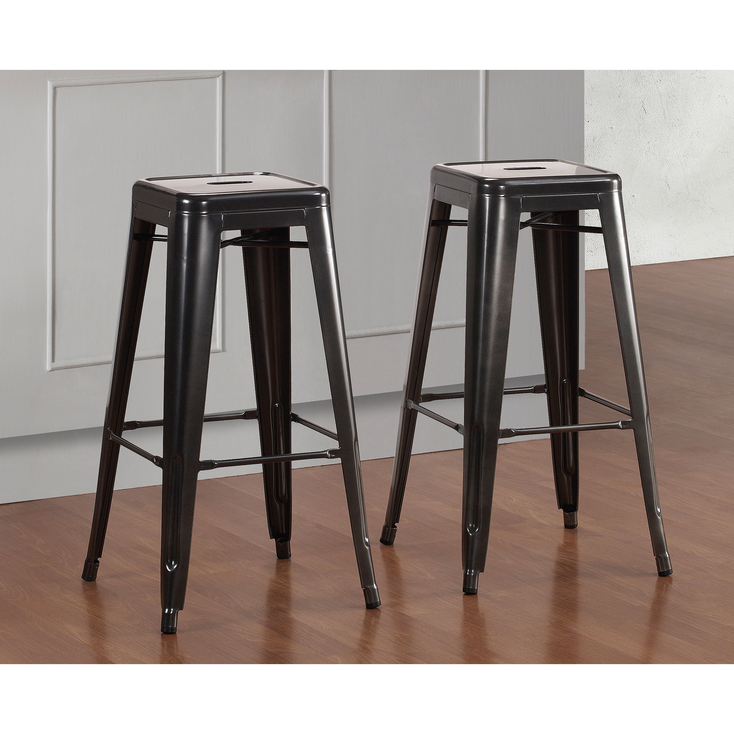 Tabourets Easy Tabouret 30 Inch Charcoal Grey Metal Bar Stools Set Of 2
