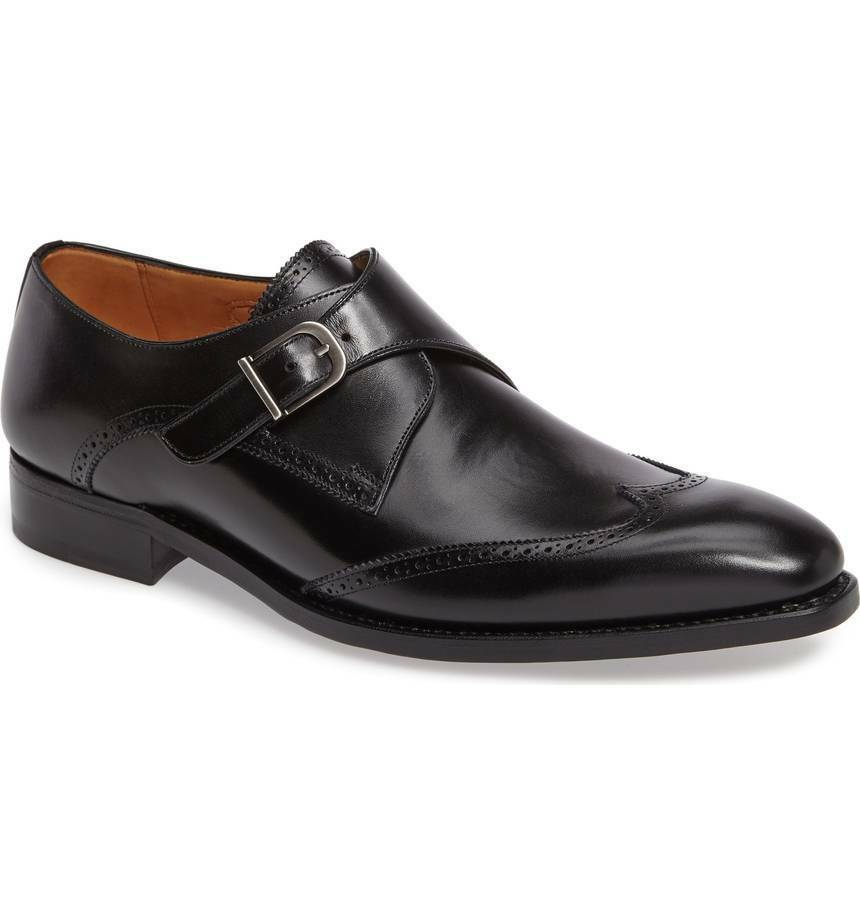 rivenditore all'ingrosso 30163 425a1 Details about Handmade Uomo Nero pelle Wingtip Monk ...