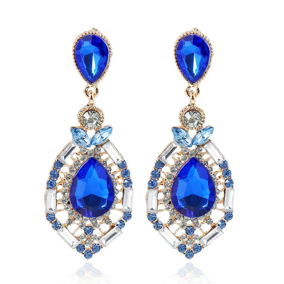 New Luxury Water Drop Crystal Stud Earrings For Women Gold Plated Imitation Diamond Earings Fashion Jewelry Oorbellen