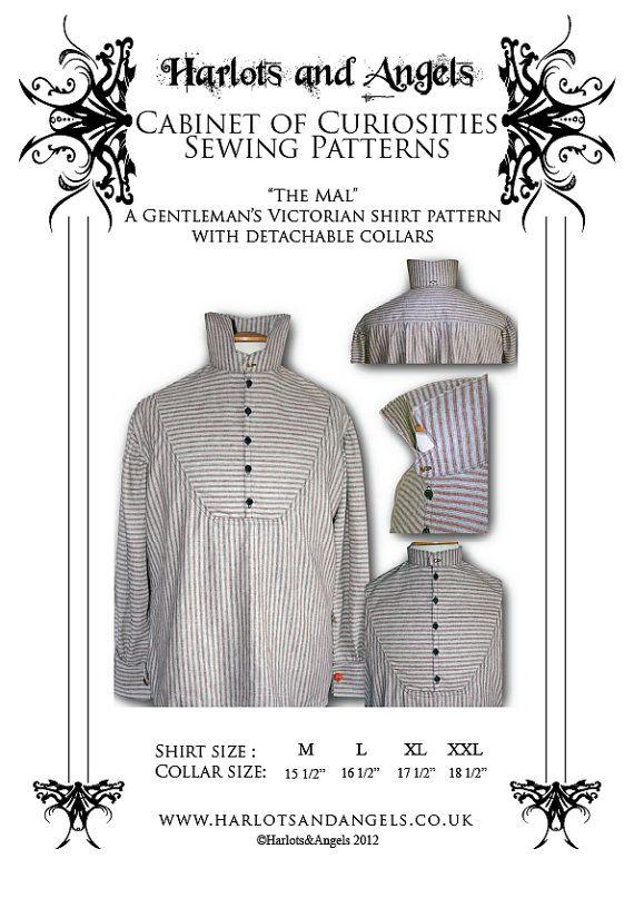 Sewing pattern, Steampunk, Victorian, Western, Men\'s Shirt , Firefly ...