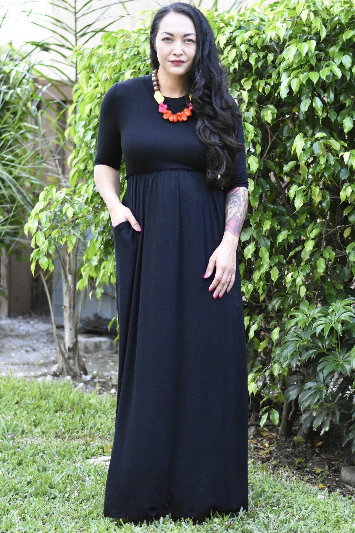 eaa98d9a53 Our Black Maxi Dress has 3 4 sleeve with a cute raw-edged empire