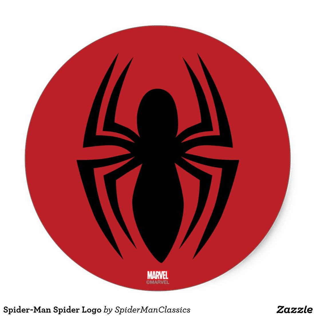 spiderman spider logo classic round sticker marvel
