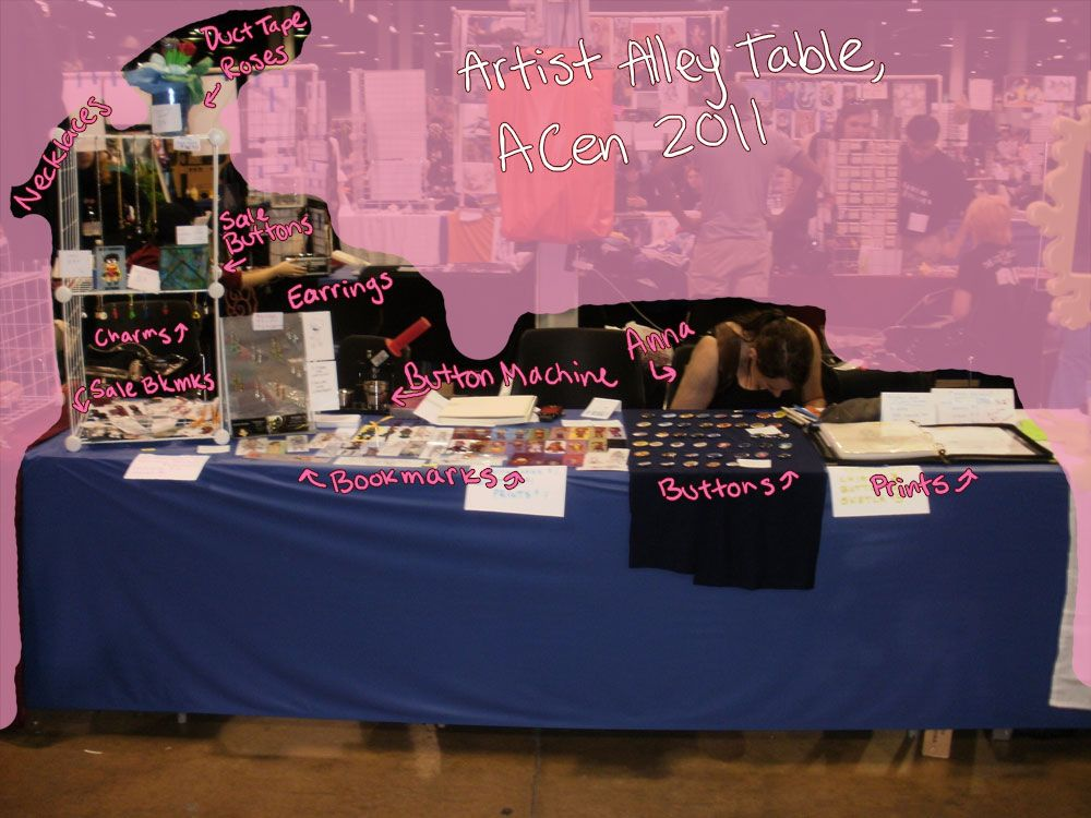 ACen 2011 Artist Alley Table by ~MuffinSquire on deviantART