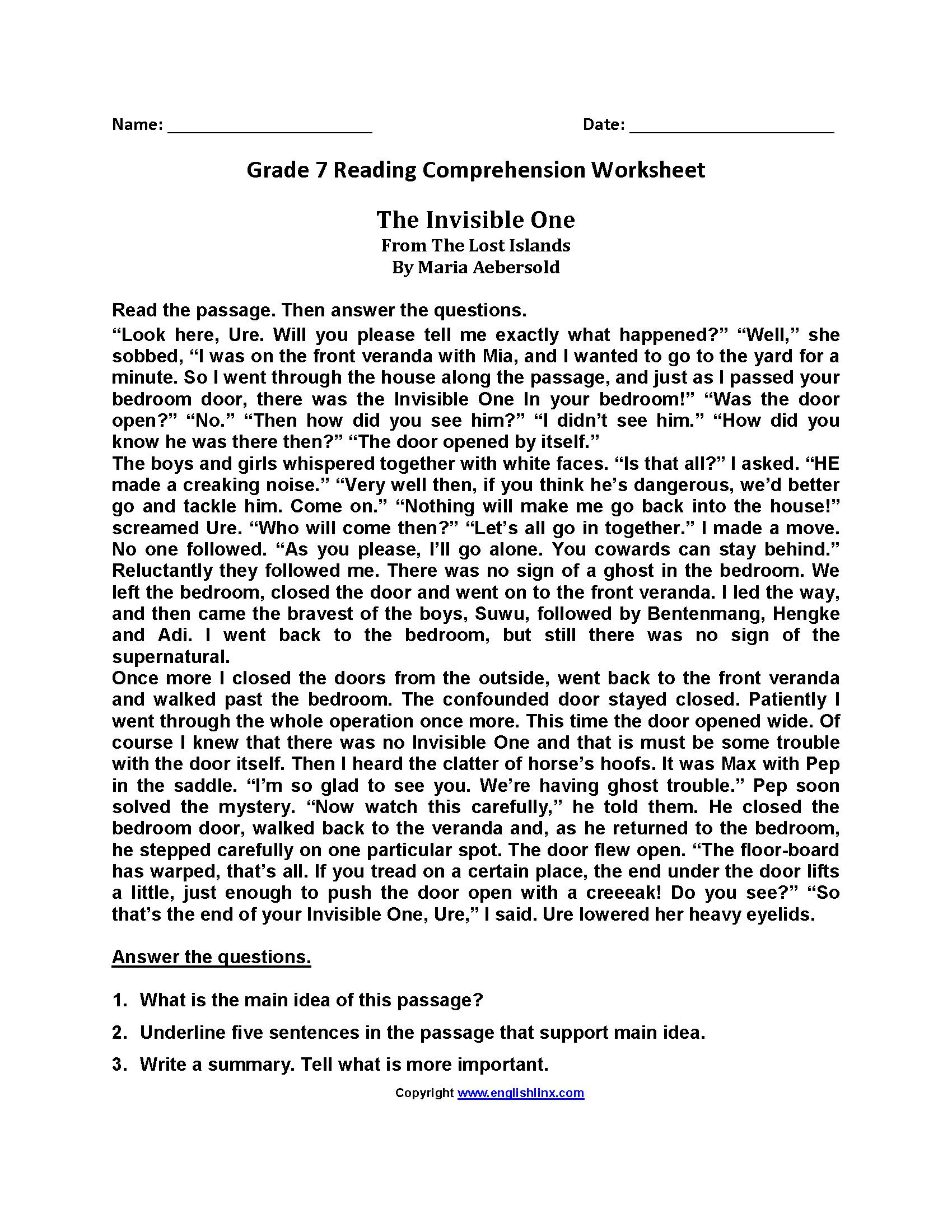Reading Comprehension Worksheets In