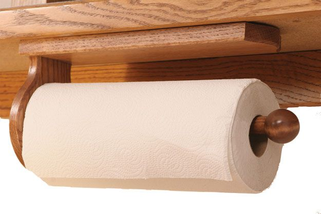 Picture Of Solid Oak Paper Towel Holder Under Cabinet Mount