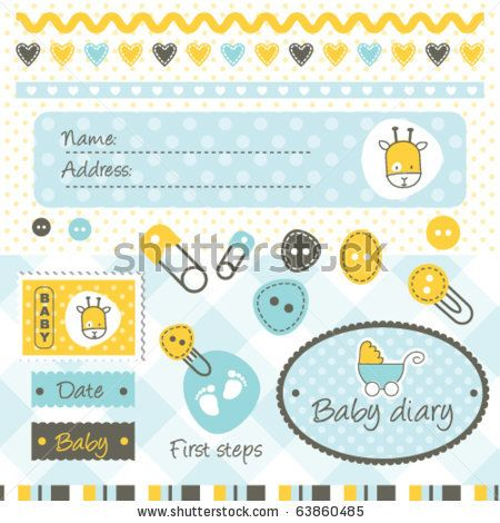 Scrapbook elements and design elements for boy arrival card by LeonART, via ShutterStock