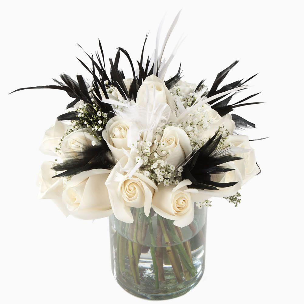 black white rose feathers centerpiece fs | Flowers & Pearls ...