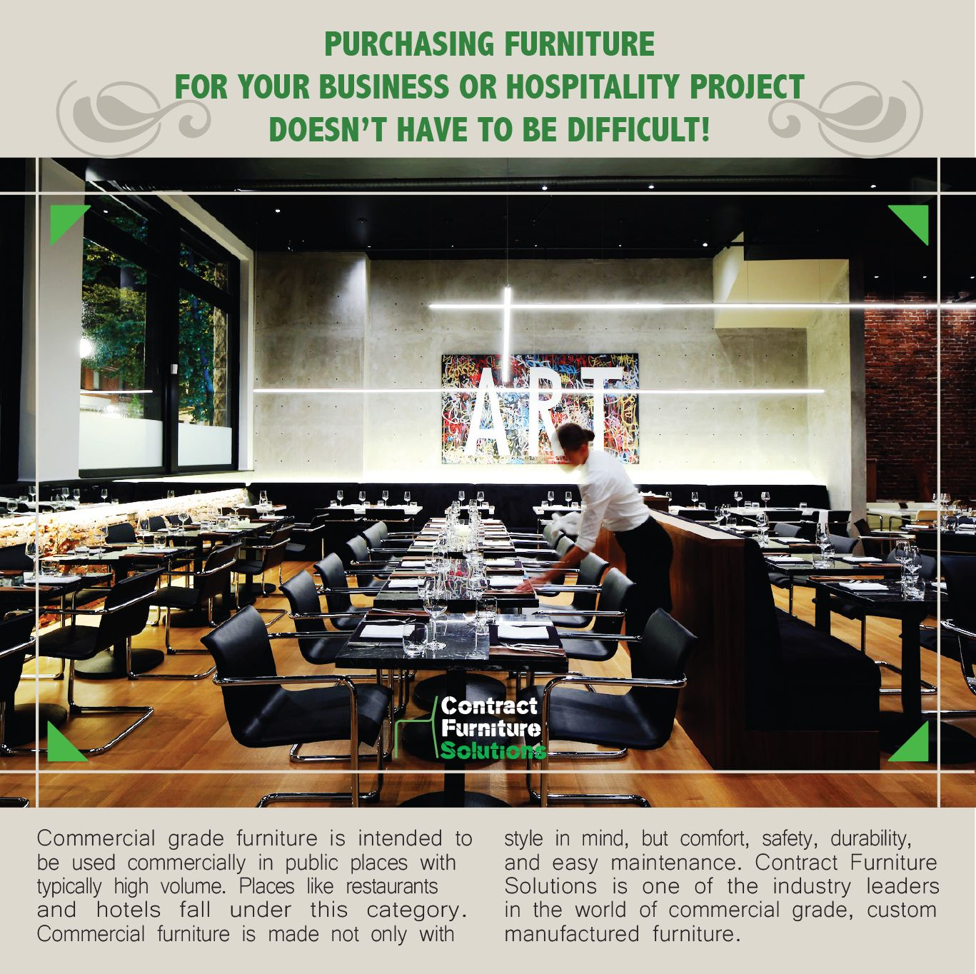 Contract furniture solutions specializes in the supply of custom furniture for hospitality projects beyond the wide range of standard designer pieces